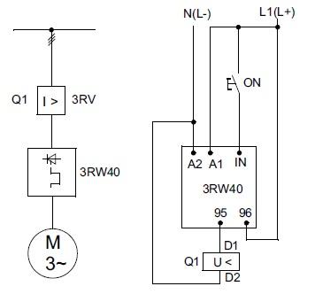 Рекомендованная схема запуска взрывозащищенного электродвигателя c автоматом защиты