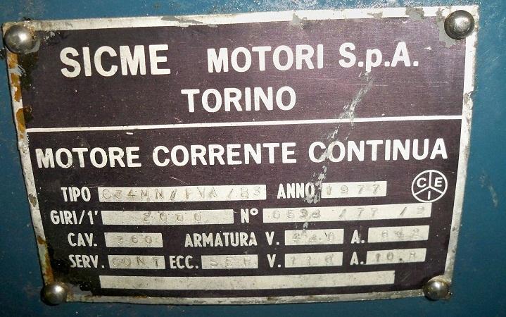 Шильдик электродвигателя постоянного тока Sicme Motori C34MN 240кВт
