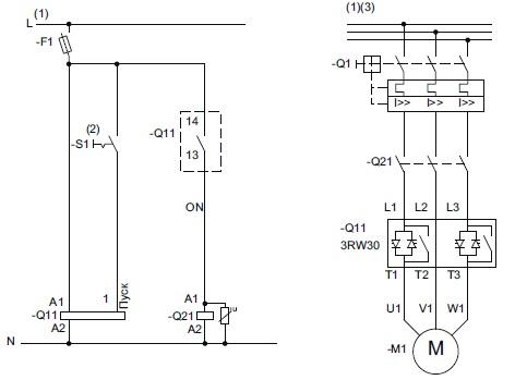 Схема запуска электродвигателя через софтстартер и сетевой контактор