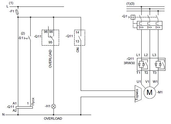 Схема запуска электродвигателя с электромагнитным тормозом