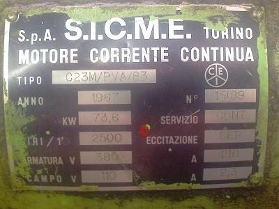 Шильдик электродвигателя постоянного тока Sicme Motori серии C23M 76,3кВт